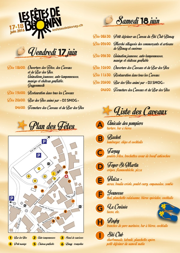 Flyer des F�tes de Blonay 2016
